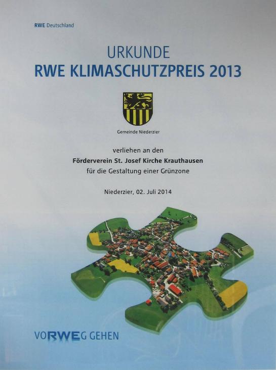 Urkunde RWE Klimaschutzpreis 2013